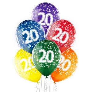 B023. Zestaw kolorowych balonów na 20 urodziny – 6 sztuk