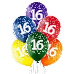B021. Zestaw kolorowych balonów na 16 urodziny – 6 sztuk