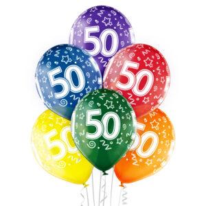 B026. Zestaw kolorowych balonów na 50 urodziny – 6 sztuk