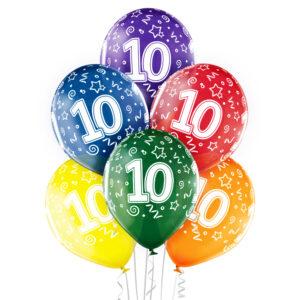 B020. Zestaw kolorowych balonów na 10 urodziny – 6 sztuk