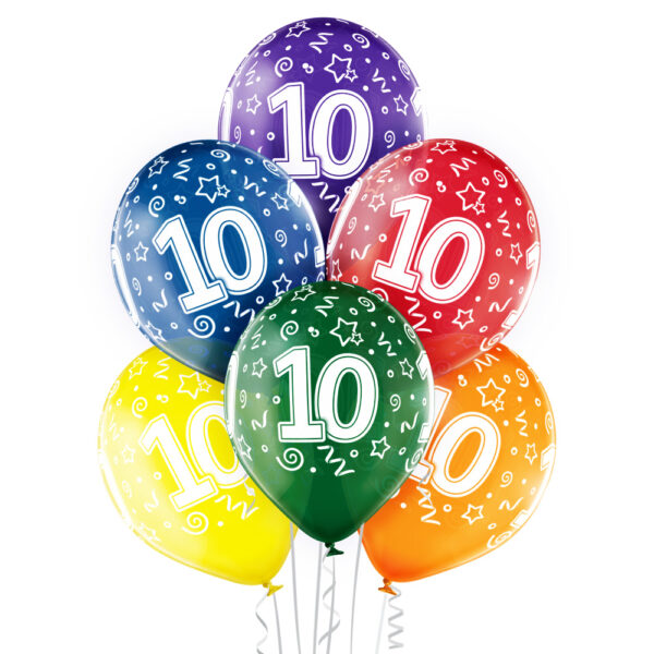 Balony transparentne na 10 urodziny - kolorowe balony urodzinowe z helem