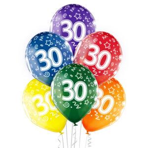 B024. Zestaw kolorowych balonów na 30 urodziny – 6 sztuk