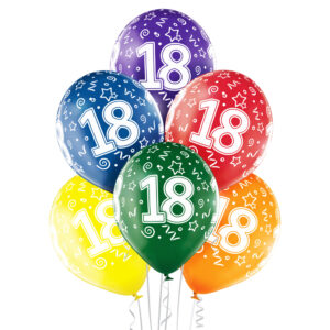 B022. Zestaw kolorowych balonów na 18 urodziny – 6 sztuk