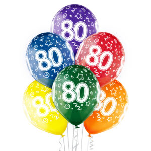 B029. Zestaw kolorowych balonów na 80 urodziny – 6 sztuk
