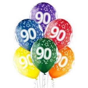 B030. Zestaw kolorowych balonów na 90 urodziny – 6 sztuk