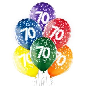 B028. Zestaw kolorowych balonów na 70 urodziny – 6 sztuk
