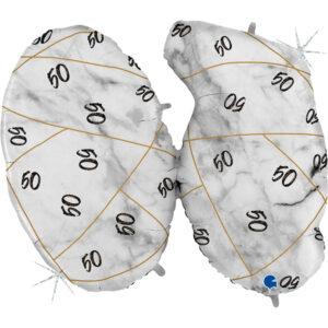K188. Balon z helem na 50 urodziny 43″cali – marmurkowy jeden balon