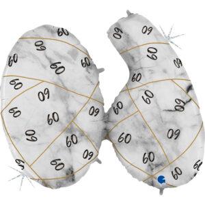 K190. Balon z helem na 60 urodziny 43″cale – marmurkowy jeden balon