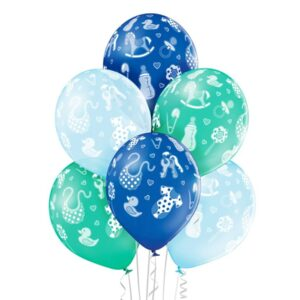 C006. Zestaw balonów na Baby Shower / narodziny chłopca- ubranka – 6 sztuk