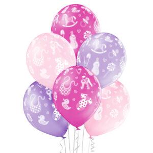 C005. Zestaw balonów na Baby Shower / narodziny dziewczynki- ubranka – 6 sztuk