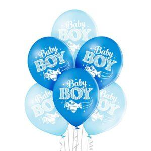 C008. Zestaw balonów na Baby Shower / narodziny chłopczyka- małe chłopiec – 6 sztuk