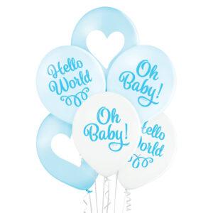 C010. Zestaw balonów na Baby Shower / narodziny chłopczyka – Och Baby i serca – 6 sztuk