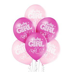 C007. Zestaw balonów na Baby Shower / narodziny dziewczynki- małe dziewczynka – 6 sztuk