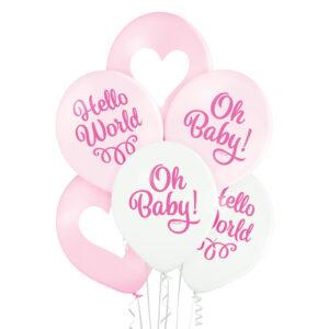 C009. Zestaw balonów na Baby Shower / narodziny dziewczynki- Och Baby i serduszka – 6 sztuk