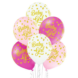 Balony w kolorach białym różowym jasnym i fuksji