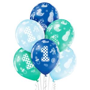 B011. Zestaw balonów na urodziny 6 sztuk na roczek chłopca