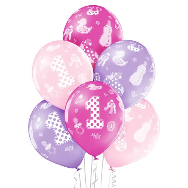Balony na roczek córki różowo fioletowe - Duże