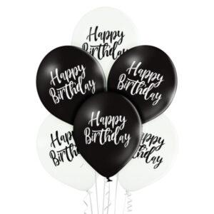 B001. Zestaw balonów na urodziny 6 sztuk czarno białe HBD