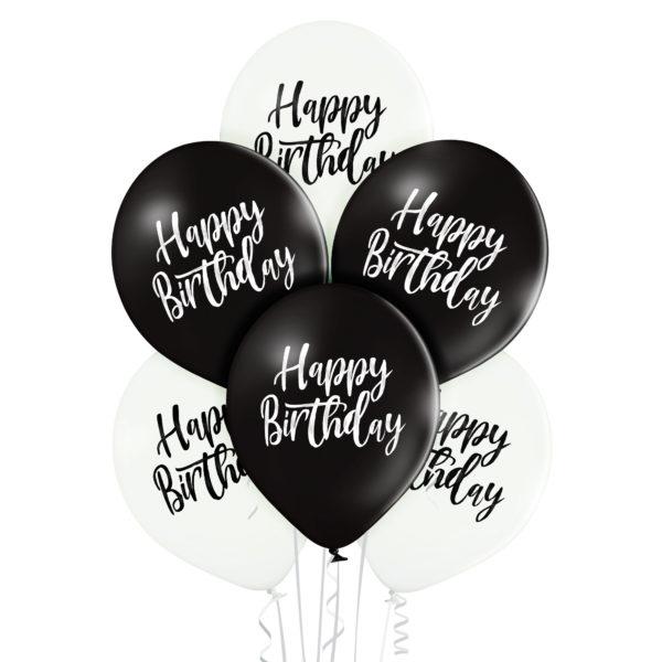 Balony na urodziny w kolorach bieli i czerni