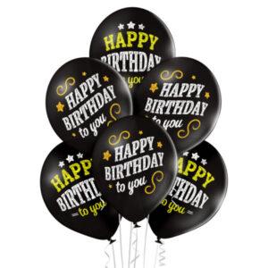 B002. Zestaw balonów na urodziny 6 sztuk czarne Happy Birthday to You