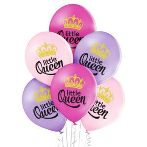 C011. Zestaw balonów na Baby Shower / narodziny dziewczynki- Little Queen – 6 sztuk