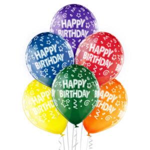 B004. Zestaw balonów na urodziny 6 sztuk kolorowe Happy BirthDay