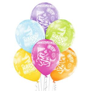 B009. Zestaw balonów na urodziny 6 sztuk dinozaury Happy BirthDay