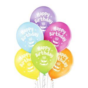 B006. Zestaw balonów na urodziny 6 sztuk kolorowe z tortem mniejsze