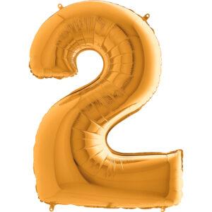 K0002. Balon foliowy w kształcie cyfry 2 w kolorze złotym