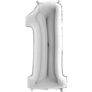 K0011. Balon foliowy w kształcie cyfry 1 w kolorze srebrnym