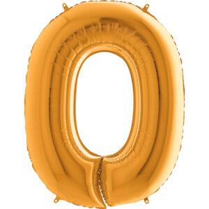 K0010. Balon foliowy w kształcie cyfry 0 w kolorze złotym
