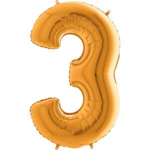 K0003. Balon foliowy w kształcie cyfry 3 w kolorze złotym