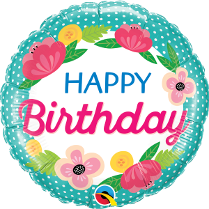 L0019. Balon foliowy z helem na urodziny 18″ cali (43 cm) – Happy Birthday malowane kwiaty