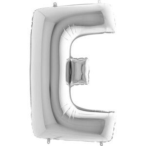 KS05. Balony litery duże około 100 cm na hel – litera srebrna E