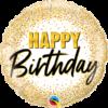 Biały balon urodzinowy ze złotymi zdobieniami