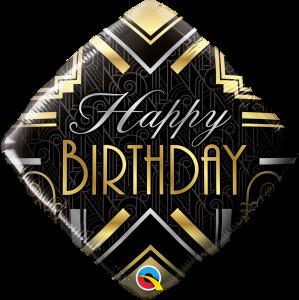 L0013. Balon foliowy z helem na urodziny 18″ cali (43 cm) – rąb czarny Happy Birthday