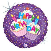 L0049. Balon foliowy z helem na urodziny 18″ cali (43 cm) – babeczki