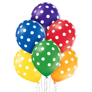 E003. Zestaw balonów dekoracyjnych / kolorowe w białe grochy – 6 sztuk