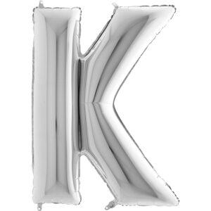 KS11. Balony litery duże około 100 cm na hel – litera srebrna K