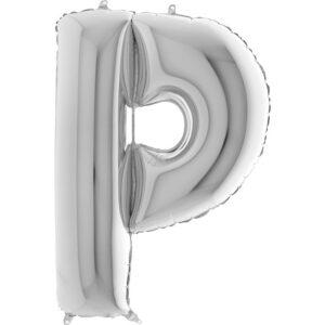 KS16. Balony litery duże około 100 cm na hel – litera srebrna P