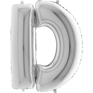 KS04. Balony litery duże około 100 cm na hel – litera srebrna D