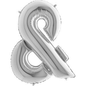 KS27. Balony litery duże około 100 cm na hel – znak srebrny &