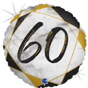 K189. Okrągły balon z helem na 60 urodziny około 43 cm – marmurkowy