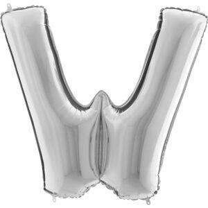 KS23. Balony litery duże około 100 cm na hel – litera srebrna W
