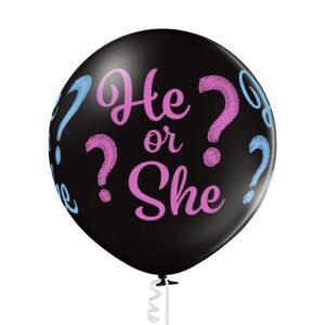 C019. Duży, czarny balon z helem i konfetti – gender reveal – chłopak czy dziewczynka?