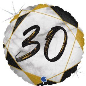 K183. Okrągły balon z helem na 30 urodziny około 43 cm – marmurkowy