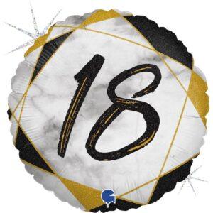 K181. Okrągły balon z helem na 18 urodziny około 43 cm – marmurkowy