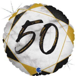 K187. Okrągły balon z helem na 50 urodziny około 43 cm – marmurkowy