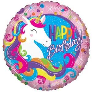 L0033. Balon foliowy z helem na urodziny 18″ cali (43 cm) – Happy Birthday jednorożec
