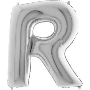 KS18. Balony litery duże około 100 cm na hel – litera srebrna R